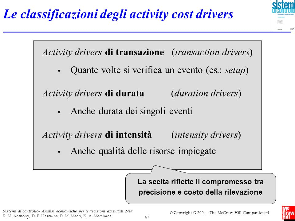 Le classificazioni degli activity cost drivers