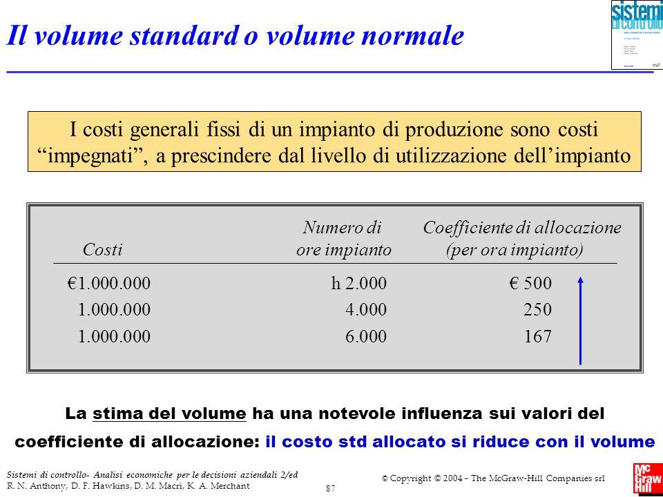 Il volume standard o volume normale