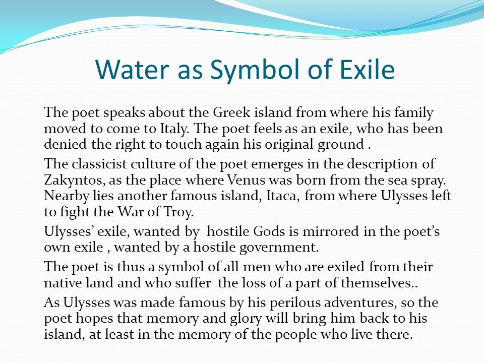 Water as Symbol of Exile