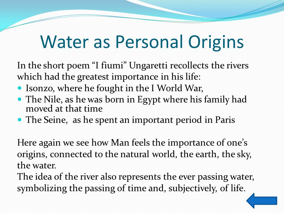 Water as Personal Origins