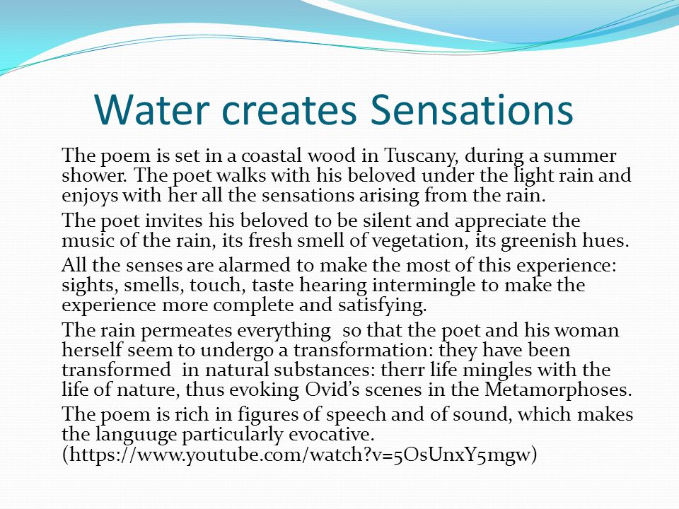 Water creates Sensations