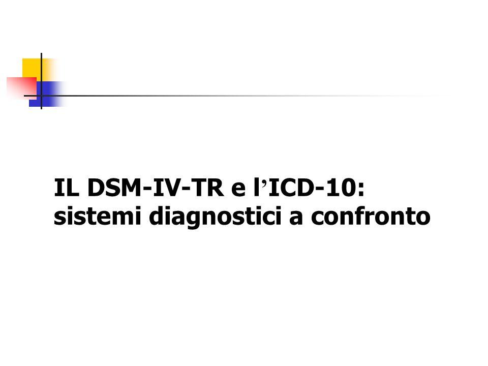 IL DSM-IV-TR e l'ICD-10: sistemi diagnostici a confronto