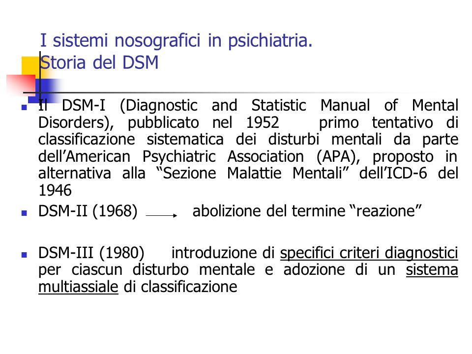 I sistemi nosografici in psichiatria. Storia del DSM