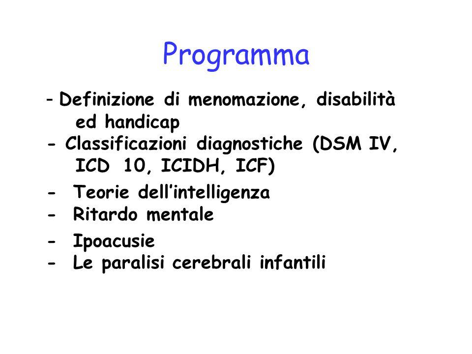 Programma - Definizione di menomazione, disabilità ed handicap - Classificazioni diagnostiche (DSM IV, ICD 10, ICIDH, ICF)