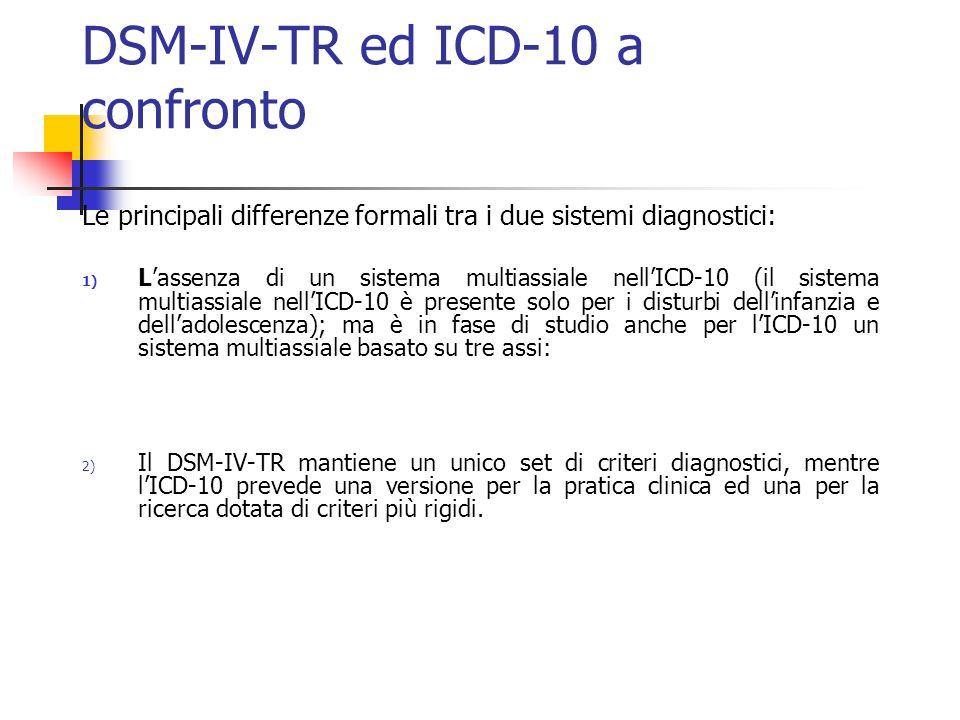 DSM-IV-TR ed ICD-10 a confronto