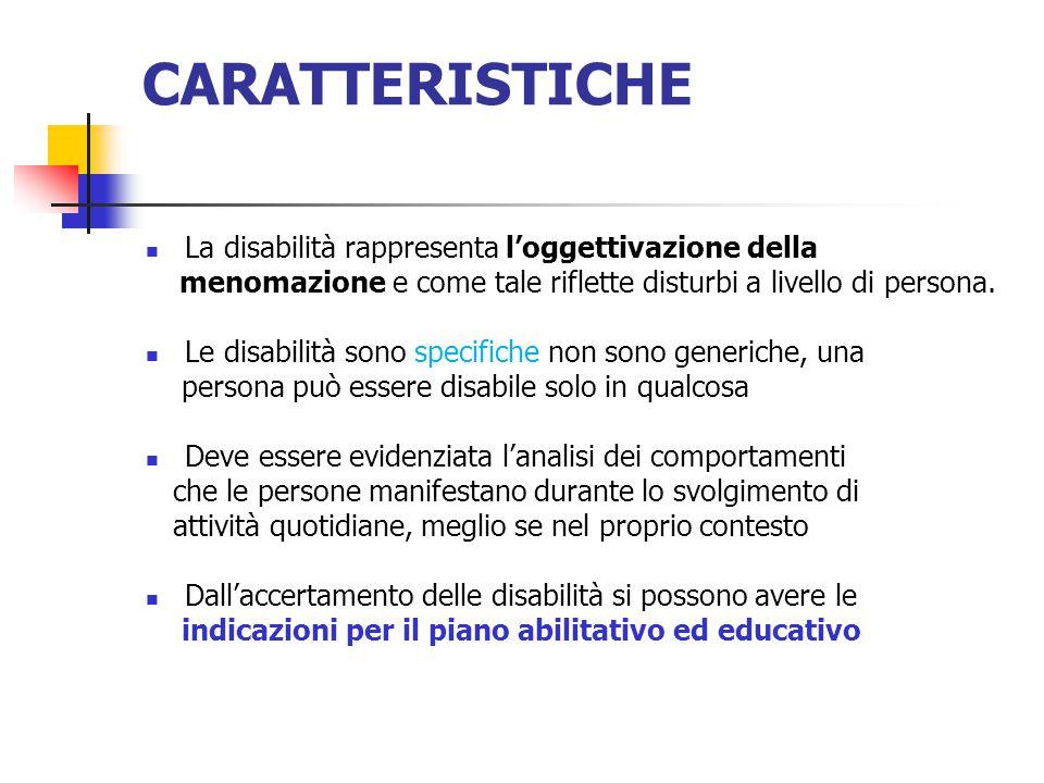 CARATTERISTICHE La disabilità rappresenta l'oggettivazione della
