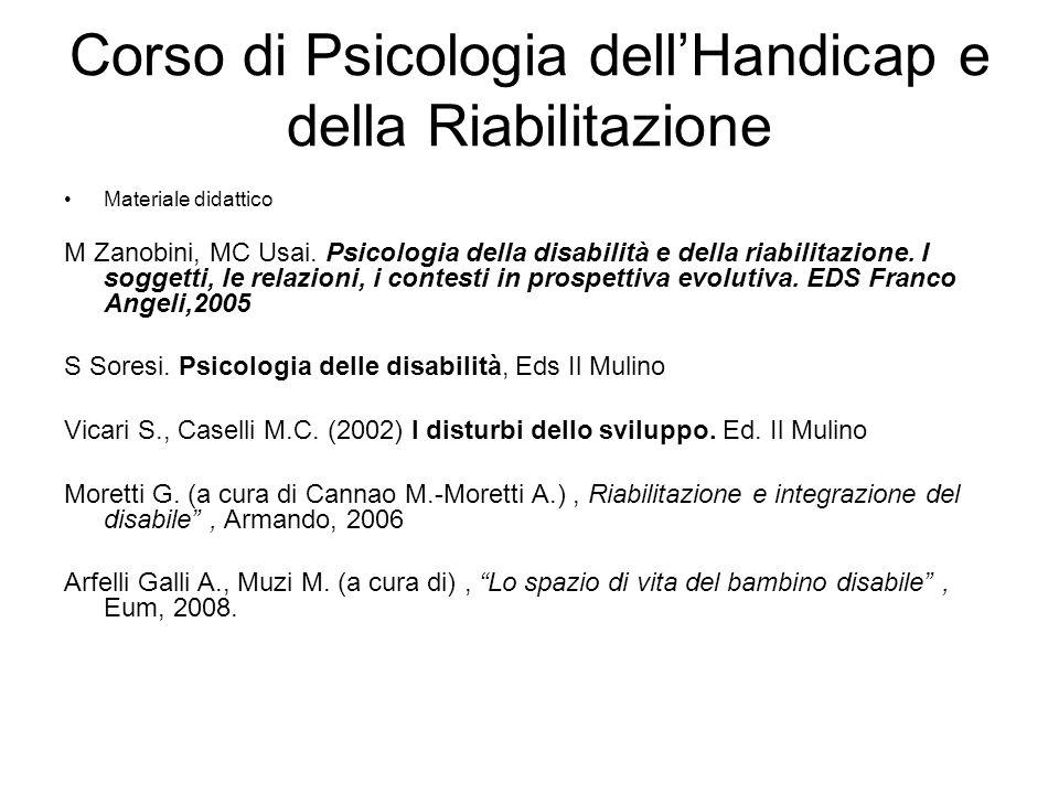 Corso di Psicologia dell'Handicap e della Riabilitazione