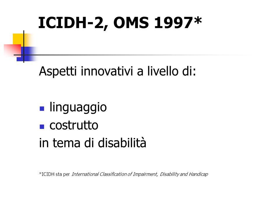 ICIDH-2, OMS 1997* Aspetti innovativi a livello di: linguaggio