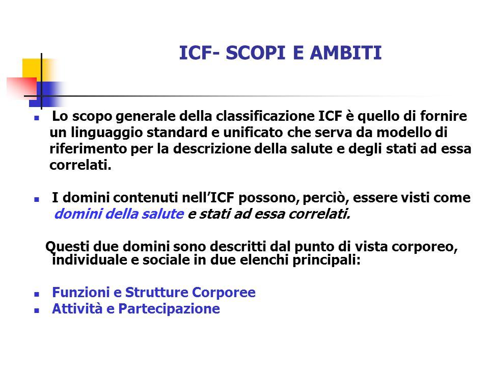 ICF- SCOPI E AMBITI Lo scopo generale della classificazione ICF è quello di fornire. un linguaggio standard e unificato che serva da modello di.