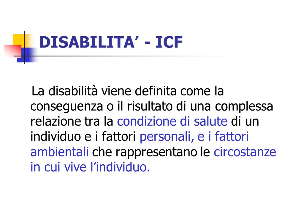 DISABILITA' - ICF