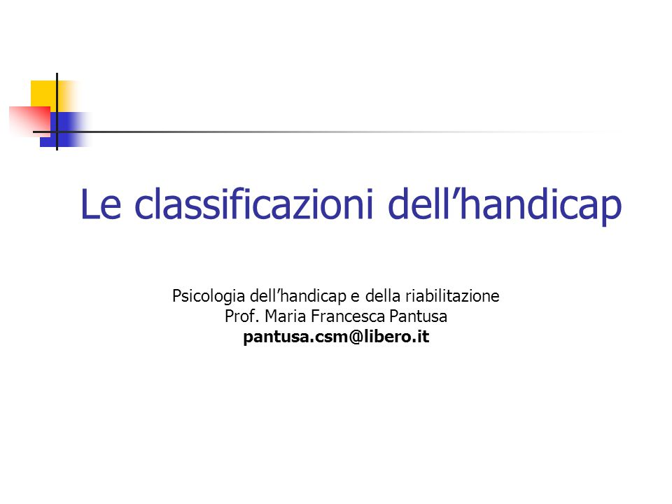 Le classificazioni dell'handicap