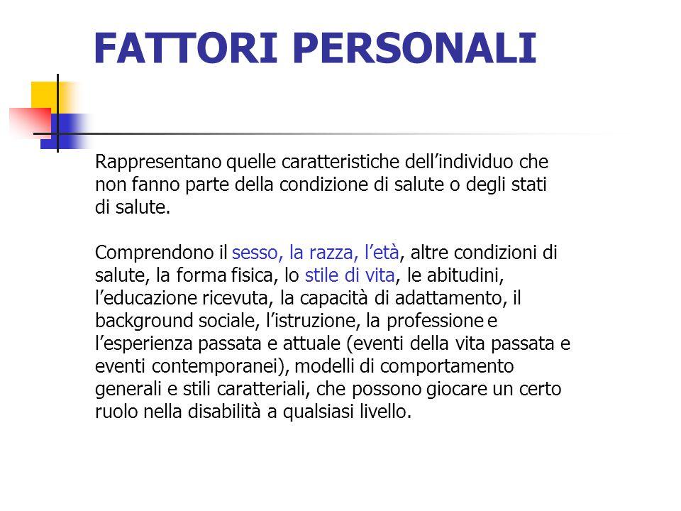 FATTORI PERSONALI Rappresentano quelle caratteristiche dell'individuo che. non fanno parte della condizione di salute o degli stati.