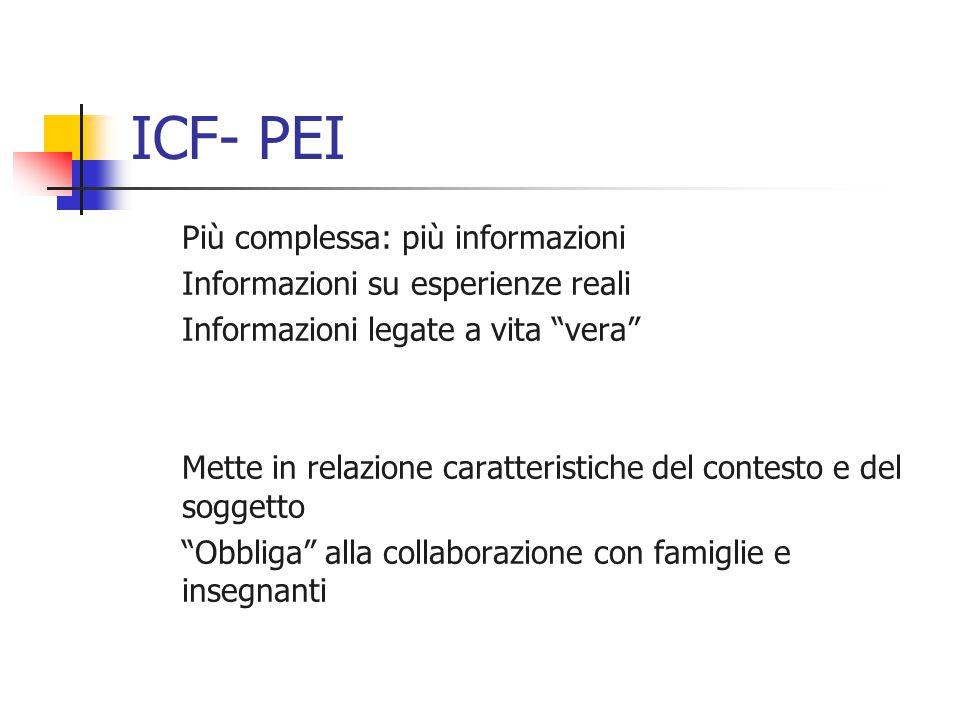 ICF- PEI Più complessa: più informazioni