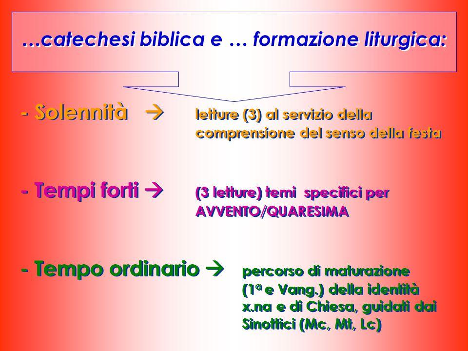 …catechesi biblica e … formazione liturgica: