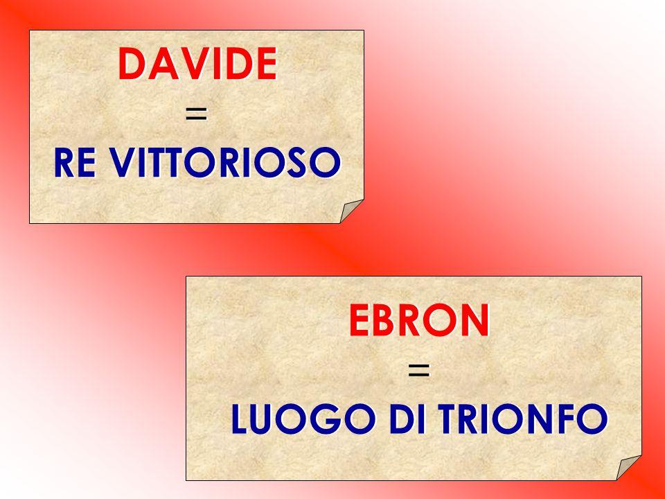 DAVIDE = RE VITTORIOSO EBRON = LUOGO DI TRIONFO