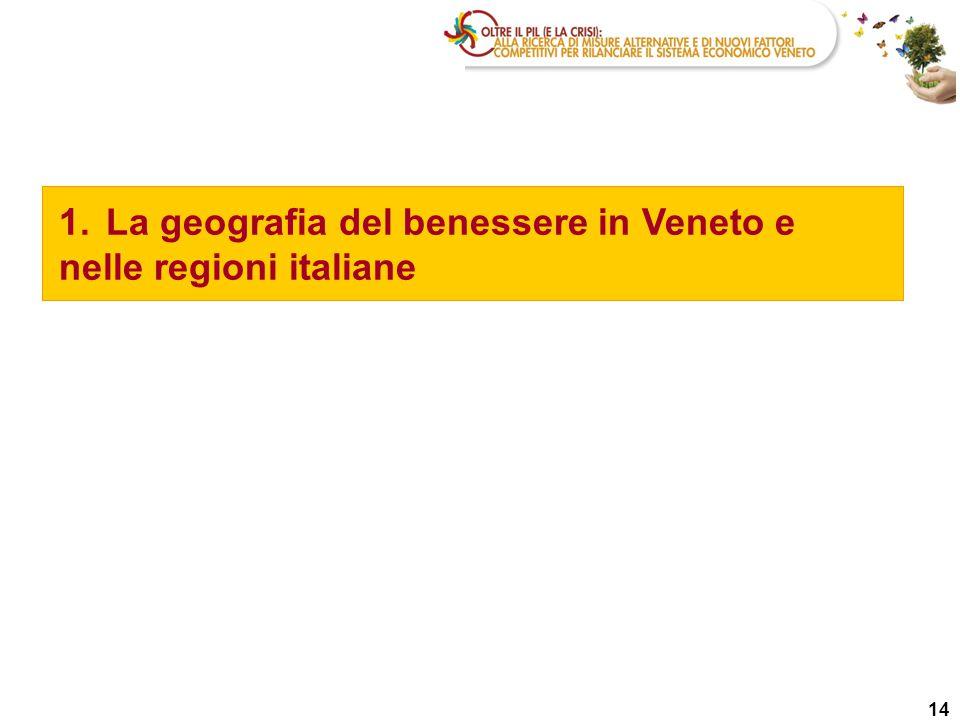 1. La geografia del benessere in Veneto e nelle regioni italiane