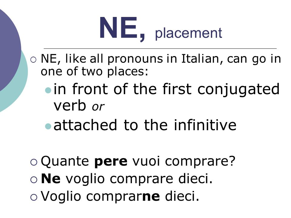 NE, placement in front of the first conjugated verb or
