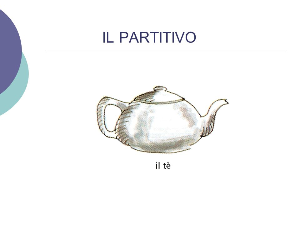 IL PARTITIVO For example you have a pot of tea…but you do not want the whole pot….