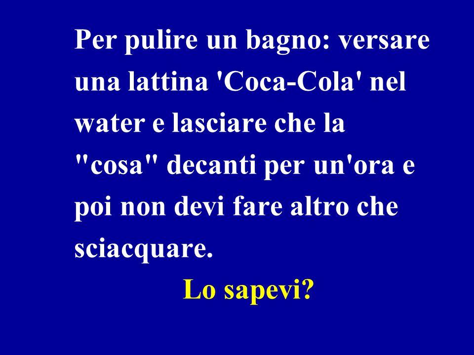 Per pulire un bagno: versare una lattina Coca-Cola nel water e lasciare che la cosa decanti per un ora e poi non devi fare altro che sciacquare.