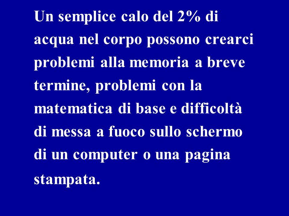 Un semplice calo del 2% di acqua nel corpo possono crearci problemi alla memoria a breve termine, problemi con la matematica di base e difficoltà di messa a fuoco sullo schermo di un computer o una pagina stampata.