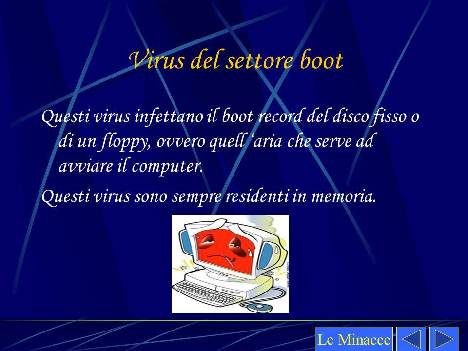 Virus del settore boot Questi virus infettano il boot record del disco fisso o di un floppy, ovvero quell 'aria che serve ad avviare il computer.