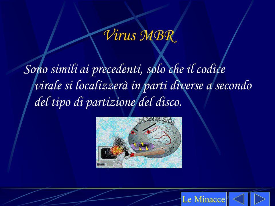Virus MBR Sono simili ai precedenti, solo che il codice virale si localizzerà in parti diverse a secondo del tipo di partizione del disco.