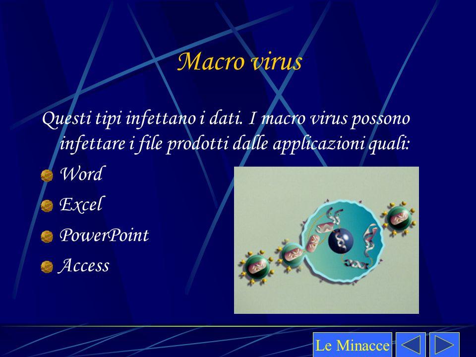 Macro virus Questi tipi infettano i dati. I macro virus possono infettare i file prodotti dalle applicazioni quali: