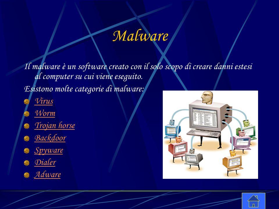 Malware Il malware è un software creato con il solo scopo di creare danni estesi al computer su cui viene eseguito.
