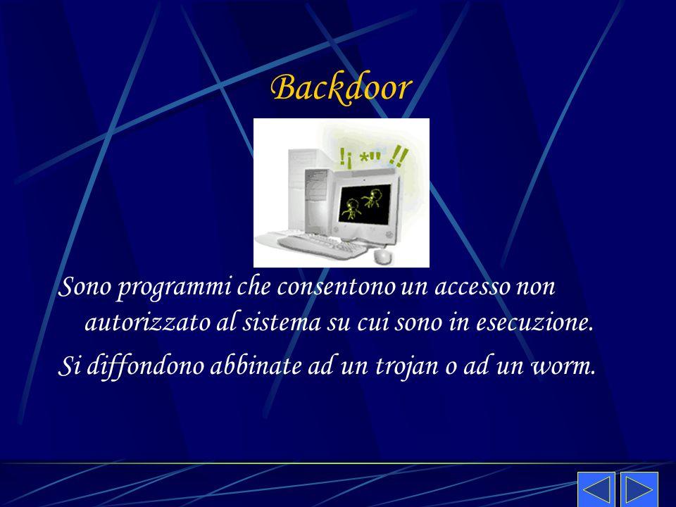 Backdoor Sono programmi che consentono un accesso non autorizzato al sistema su cui sono in esecuzione.