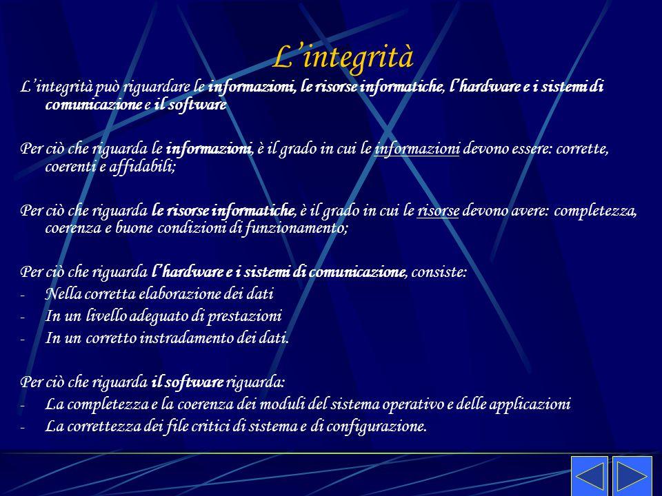 L'integrità L'integrità può riguardare le informazioni, le risorse informatiche, l'hardware e i sistemi di comunicazione e il software.