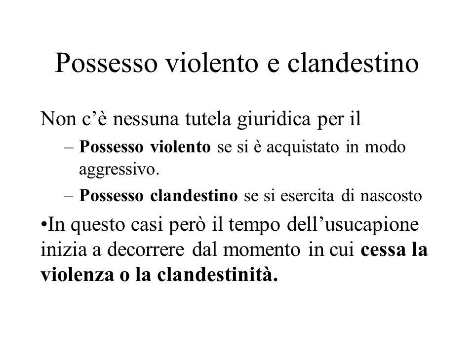 Possesso violento e clandestino