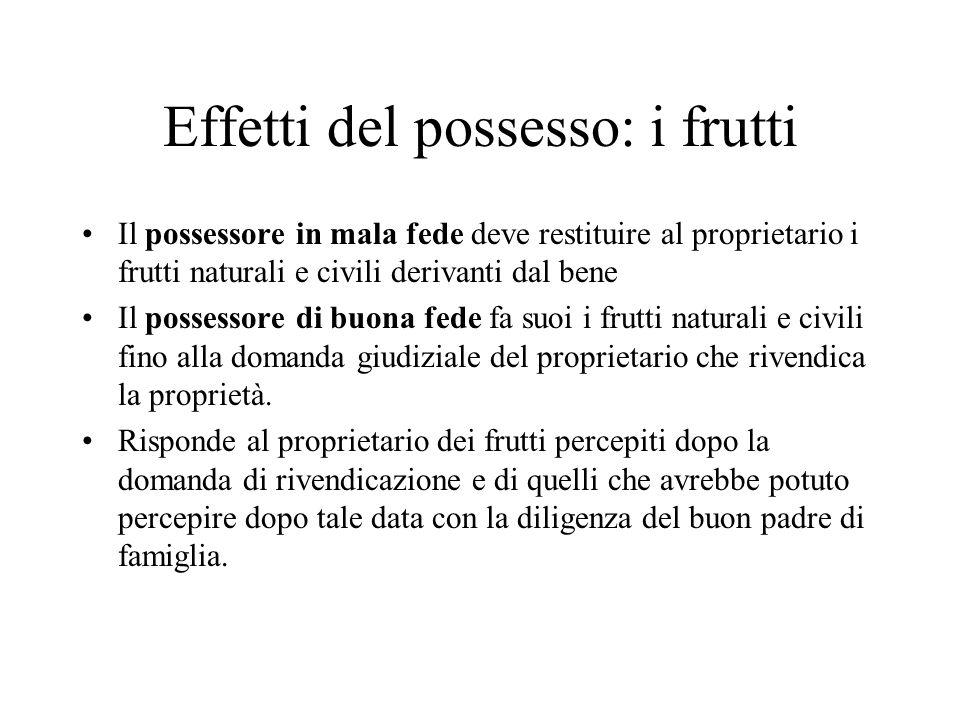 Effetti del possesso: i frutti