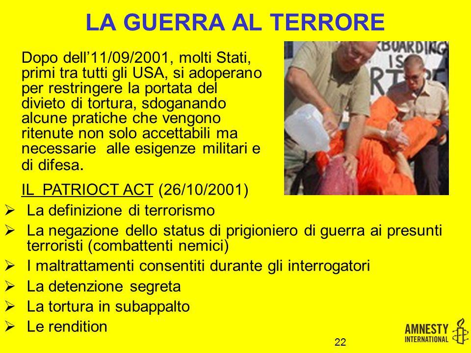 LA GUERRA AL TERRORE IL PATRIOCT ACT (26/10/2001)