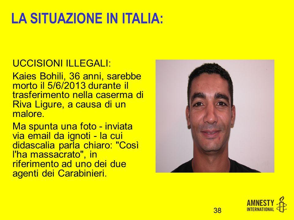 LA SITUAZIONE IN ITALIA:
