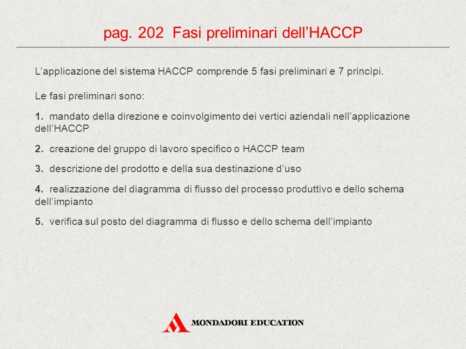 pag. 202 Fasi preliminari dell'HACCP