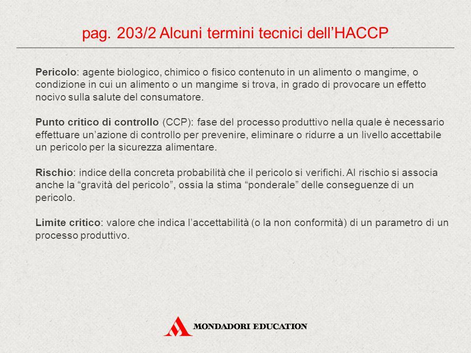 pag. 203/2 Alcuni termini tecnici dell'HACCP