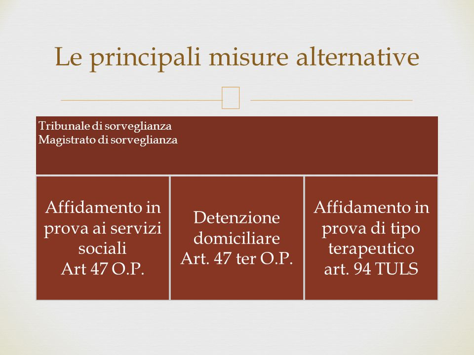 Le principali misure alternative