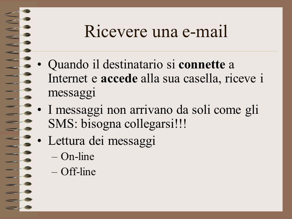 Ricevere una e-mail Quando il destinatario si connette a Internet e accede alla sua casella, riceve i messaggi.