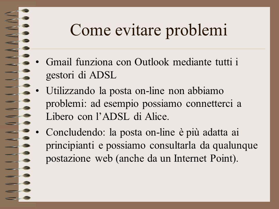 Come evitare problemi Gmail funziona con Outlook mediante tutti i gestori di ADSL.