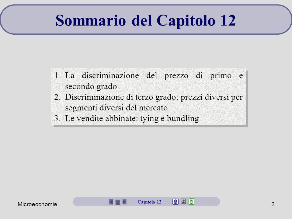 Sommario del Capitolo 12 La discriminazione del prezzo di primo e secondo grado.