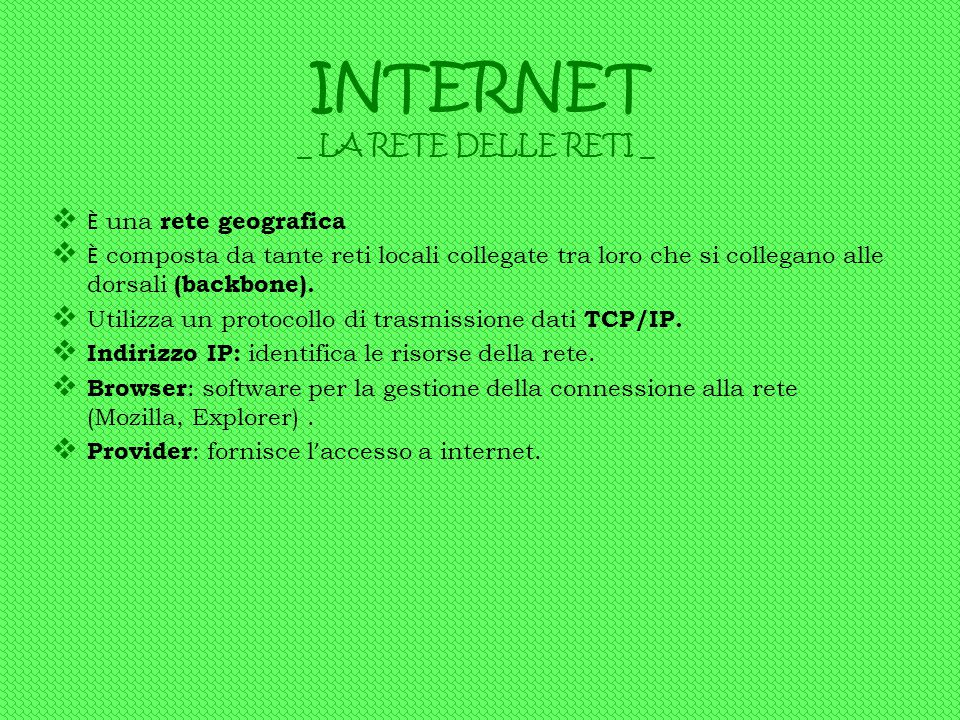 INTERNET _ LA RETE DELLE RETI _ È una rete geografica