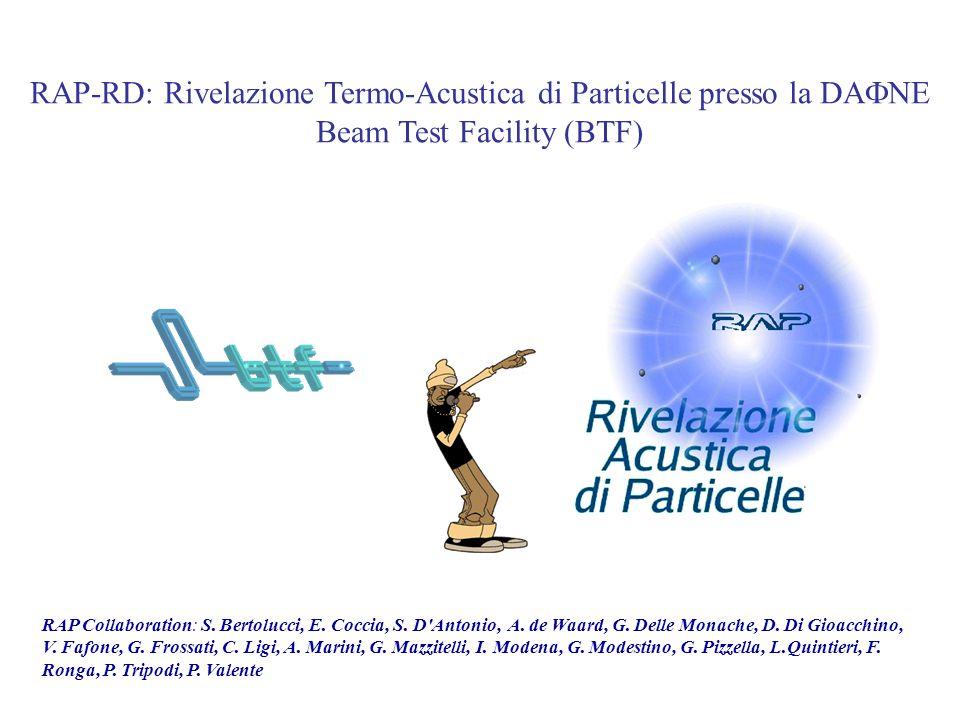 RAP-RD: Rivelazione Termo-Acustica di Particelle presso la DAFNE Beam Test Facility (BTF)