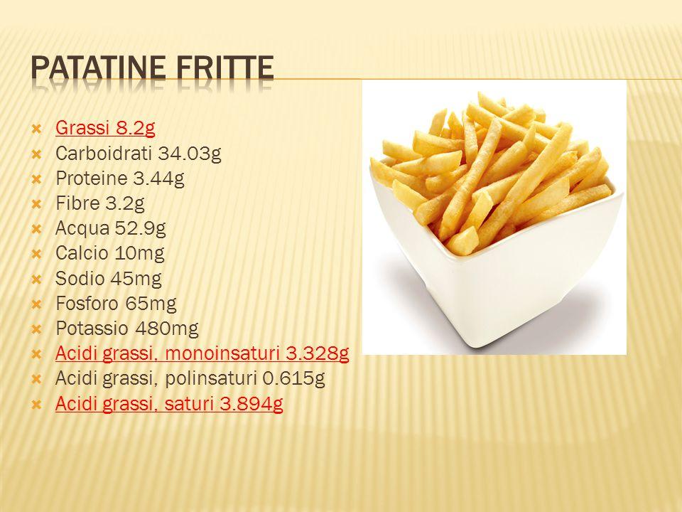 Patatine fritte Grassi 8.2g Carboidrati 34.03g Proteine 3.44g