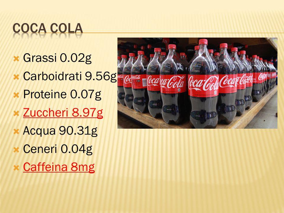 Coca Cola Grassi 0.02g Carboidrati 9.56g Proteine 0.07g Zuccheri 8.97g