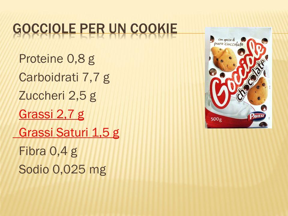Gocciole Per un Cookie Proteine 0,8 g Carboidrati 7,7 g Zuccheri 2,5 g Grassi 2,7 g Grassi Saturi 1,5 g Fibra 0,4 g Sodio 0,025 mg