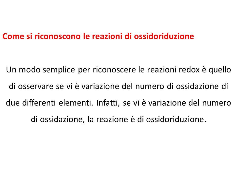Come si riconoscono le reazioni di ossidoriduzione