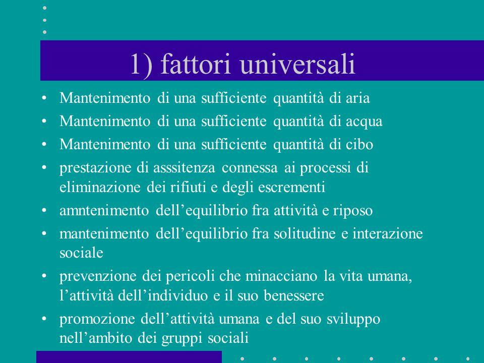 1) fattori universali Mantenimento di una sufficiente quantità di aria