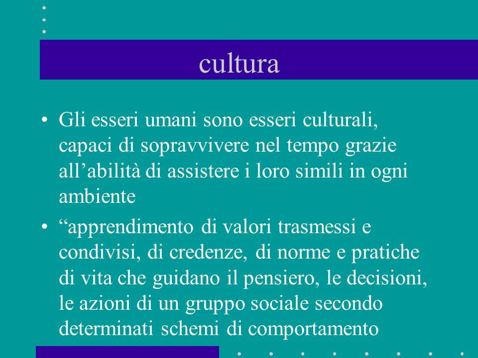 cultura Gli esseri umani sono esseri culturali, capaci di sopravvivere nel tempo grazie all'abilità di assistere i loro simili in ogni ambiente.