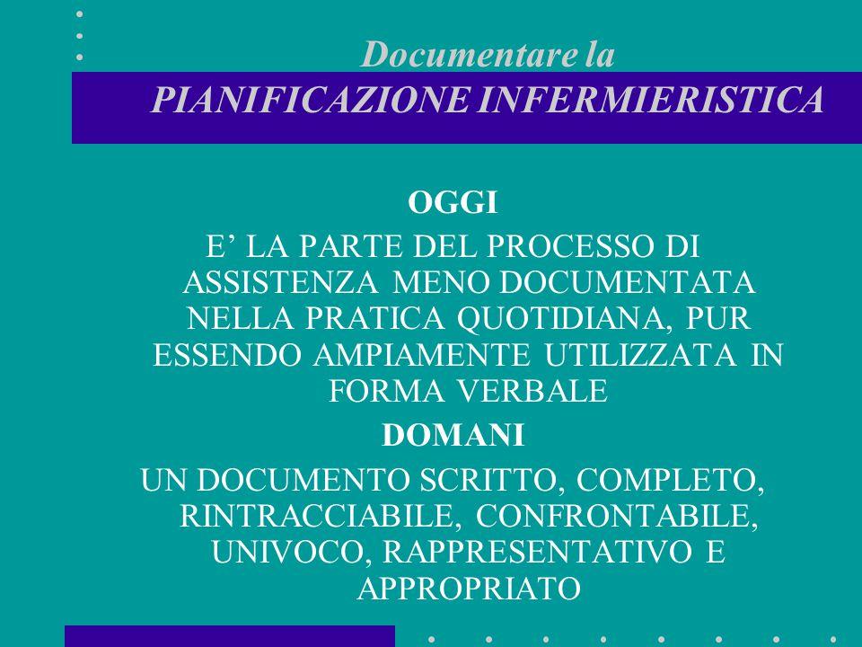 Documentare la PIANIFICAZIONE INFERMIERISTICA