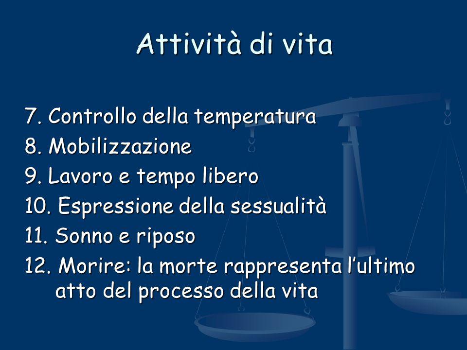 Attività di vita 7. Controllo della temperatura 8. Mobilizzazione